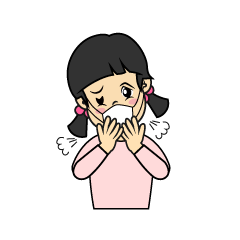 Girls coughing with a cold clip art