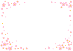 Scattering cherry blossom frame illustration