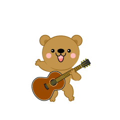 Cute bear guitarist clip art