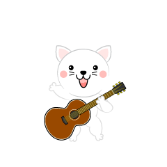 Cute white cat guitarist clip art