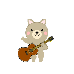 Cute dog guitarist clip art
