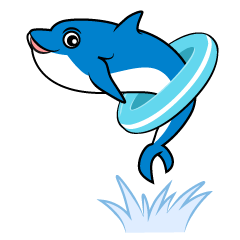 Dolphin clip art that goes through floating rings with jump