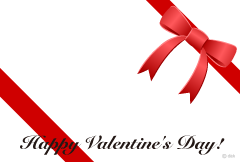 Red ribbon Valentine card