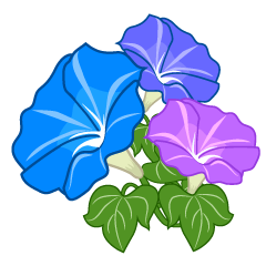 Three color morning glory flower clip art