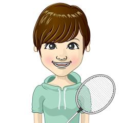 Girl of badminton players