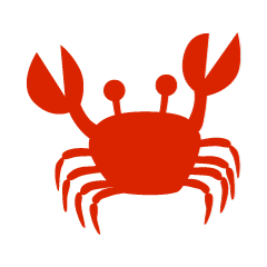 Red silhouette crab