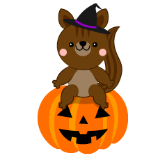Squirrel and Halloween pumpkin