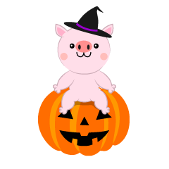 Pig and Halloween pumpkin