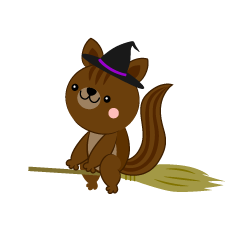 Flying in the sky with a broom Squirrel