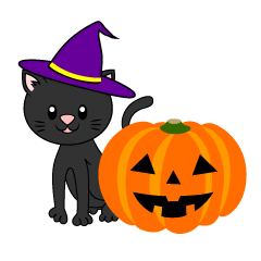 Black cat and Halloween pumpkin