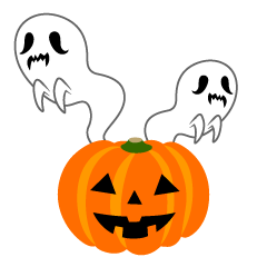 Ghost and Halloween pumpkin