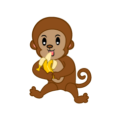 Monkey character to eat a banana