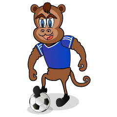 Soccer player's monkey character