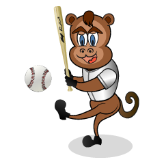 Monkey character of a baseball player