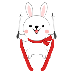 Cute rabbit to ski jump