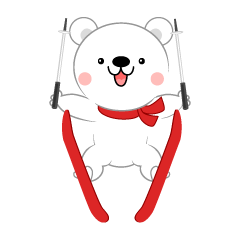 Cute polar bear who ski jumps