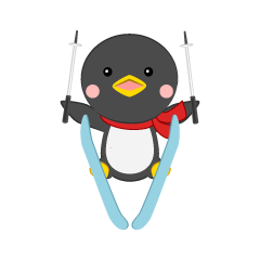A cute penguin to ski jump