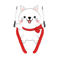 A cute white cat that ski jumps