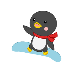 Cute penguin to jump on snowboard