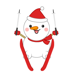 Cute snowman that is ski jumping