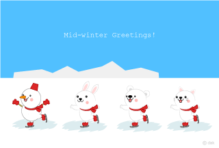 Cute animals skating winter greeting cards