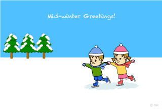 Cute children to skate Winter greeting cards