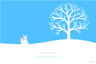 White rabbits and snowy trees
