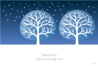 Snowy night sky and tree