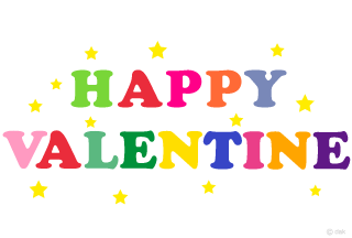 Happy colorful HAPPY VALENTINE character