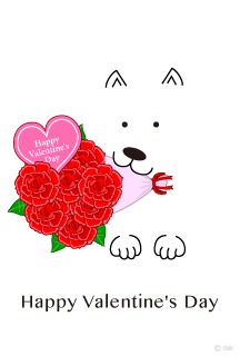 Rose bouquets and white dogs Valentine