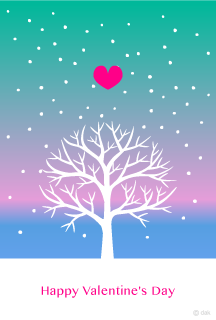 Snow Tree and Heart's Valentine