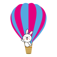 Rabbit riding a balloon