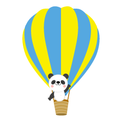 Panda riding a balloon
