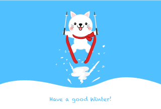 Ski jumping white cat winter greeting card
