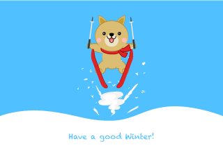 Dog to ski jump Winter greeting card