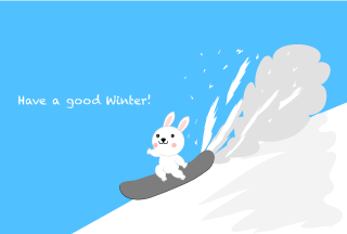 Rabbit Sliding on Snowboard Winter Greeting Card