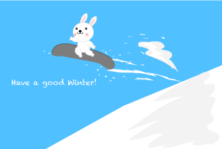 Rabbit to jump at snowboard winter greeting card