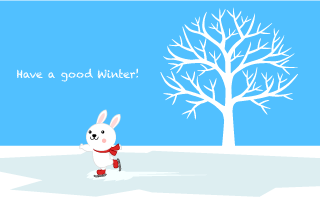 Rabbit to Skate Winter Greeting Card