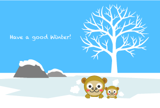 Monkey parent and child winter greeting card relaxing in outdoor bath