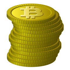 Stacked Bitcoin coins