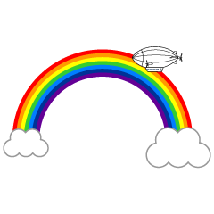 Rainbow and airship