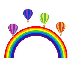 Rainbow and hot air balloon