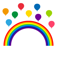 Rainbow and balloons