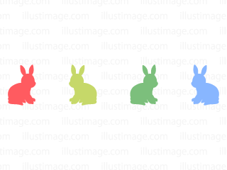 Line of colorful rabbit silhouette