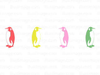 Colorful penguin silhouette line