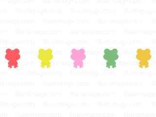 Colorful Frog silhouette line