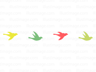 Colorful Birds silhouette line