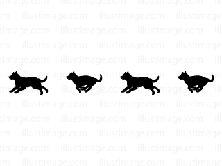 Running dog silhouette line