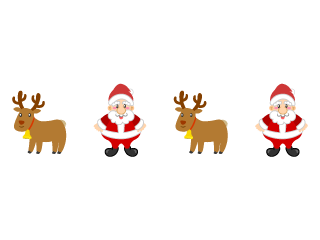 Santa Claus and reindeer line