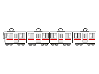 Red line long train vehicle